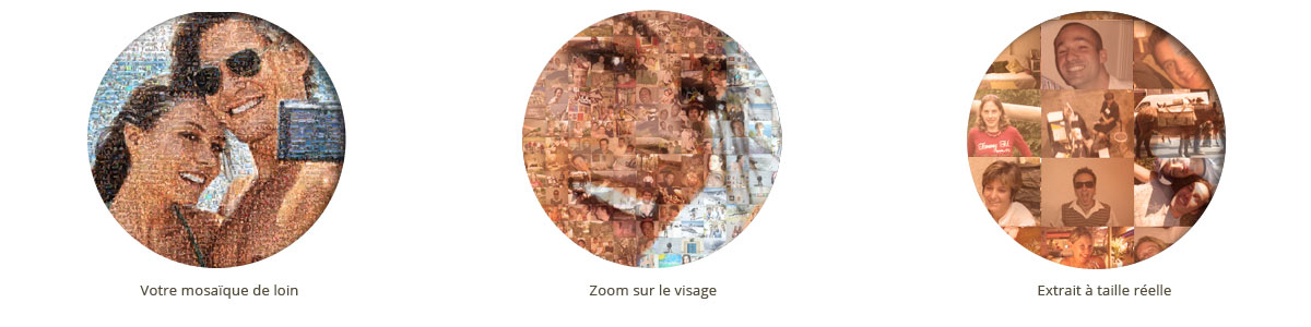 zoom sur mosaïque de photos