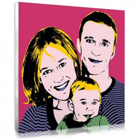 Family portrait - photo on canvas - pop art
