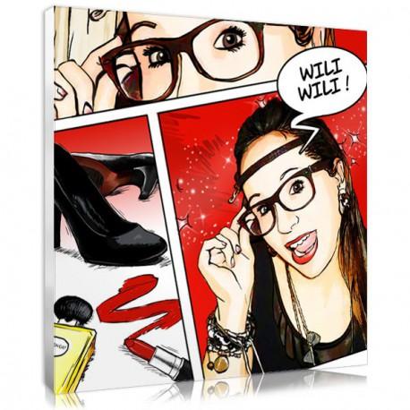 Gift idea Comic Strip canvas - Glamour - Square