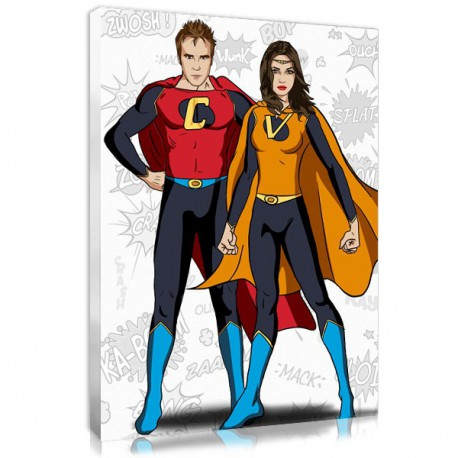 Photo on canvas mariage - superman and wonderman