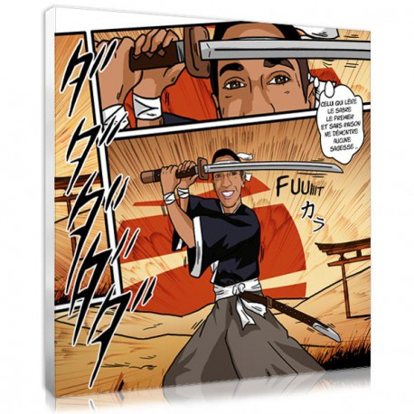Teen gift  personalized portrait samurai manga