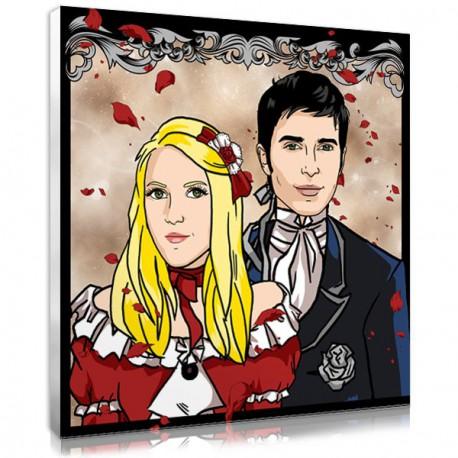 idée cadeau couple - portrait personnalisé manga romantique
