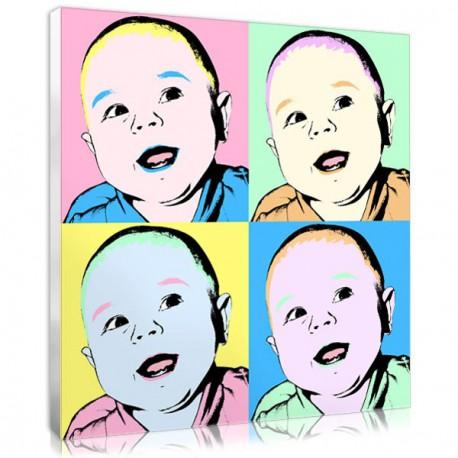 A custom baby portrait in pop art style
