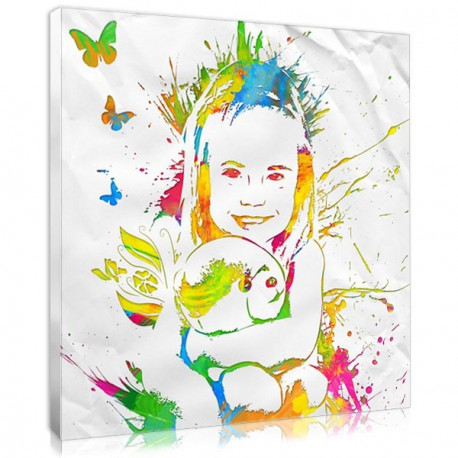 Modern personalized baby girl gift : the stencil portrait
