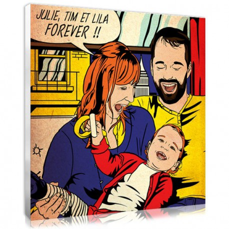 Personalised modern family photo in comic style art