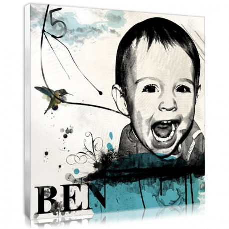 The stencil letters portrait, a personalised baby boy gift idea