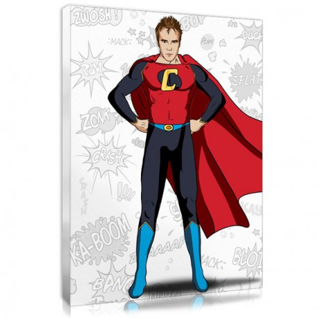 Personalised superhero portrait in Superman style