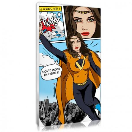 Portrait bd comic personnalisé style wonderwoman