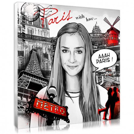 Personalised comic book portrait with Paris decor