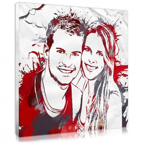 The custom stencil portrait,  a personalised couple gift