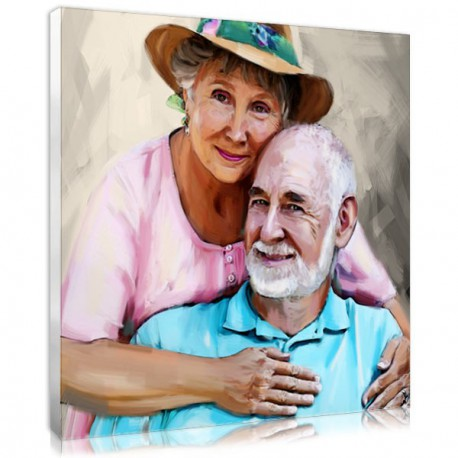 """Couple painting ideas : the """"Expression"""" portrait made from your couple photo"""