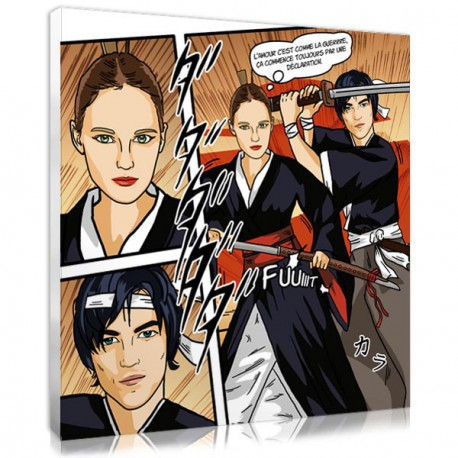Cadeau pour couple - portrait manga samouraï