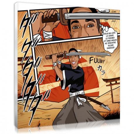cadeau adolescent portrait personnalisé manga samouraï