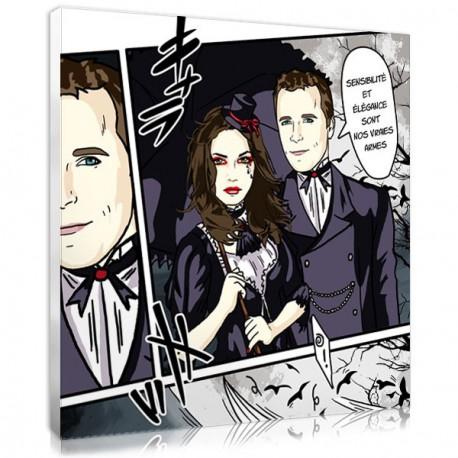 Tableau sur toile style manga - couple