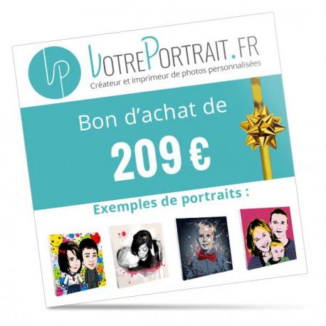 Bon cadeau personnalisé 209 €