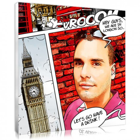 The comic strip personalised portrait - London -  Father's day present