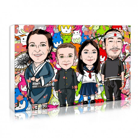Offer a personalised Family photo in kawaii style