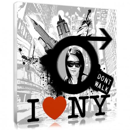 Custom street art portrait with New-York decor